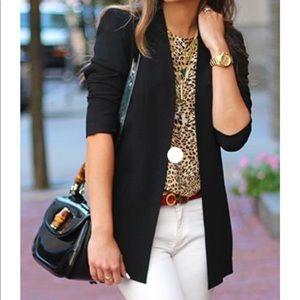 Leopard Print Short Sleeve Blouse, Size M